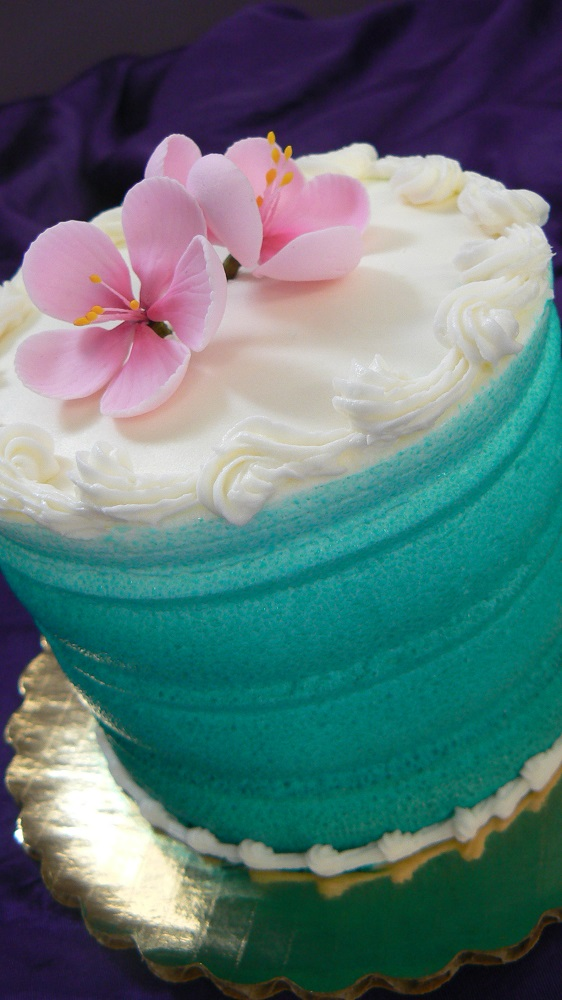 Wheatberry Bake Shop Teal and Cherry Blossom Cake